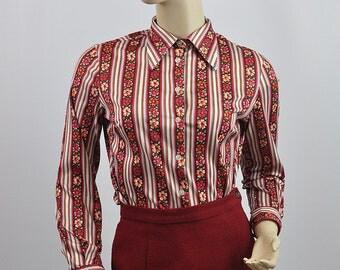 Vintage 1970's Patterned Stylish Blouse