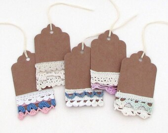 5 Shabby Gift Tags - Mixed Media Tags - Vintage Lace Tag - Vintage Tags - Hang Tags - kraft crochet lace rustic tag embellished tag