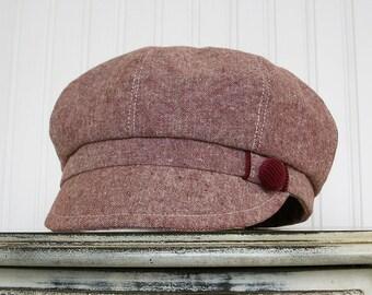 Womens Newsboy Hat- Maroon Linen - Womens Hats - Newsboy Cap - Made To Order