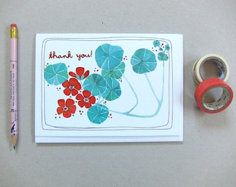 Thank You Card - Blank Thank You Card - Floral Thank You Card - Thank You Card for Gardener - Thank You Note Card - Nasturtium