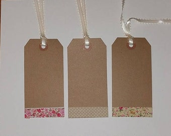 12 Primitive Whimsical Shabby Chic Kraft Brown Card Stock Hang Tags with Fabric Border Floral Polka Dot Gift Ties Party Decor