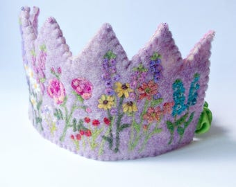 Natural Birthday Crown: 'English Garden' Waldorf Inspired Felted Wool Flower Crown (Custom MCrown for Floral Garden Birthday)