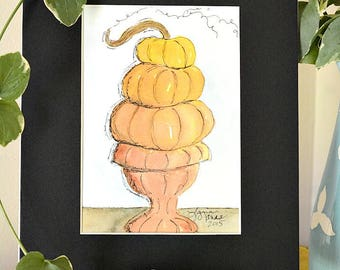 Stacked Pumpkins in Garden Urn Original Watercolor No. 2 by Lana Manis, Autumn, Fall, Primitive, Folk Art, Ready to Frame