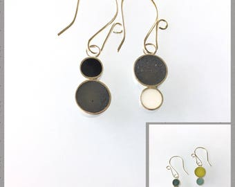 Reversible Resin Silver Earrings Colorful Circles Black and White, Aqua, Green