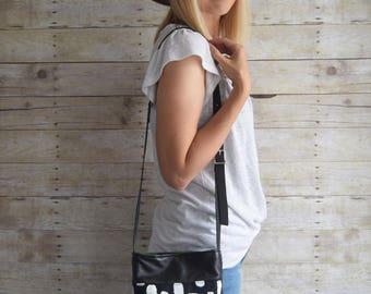 SAMPLE // Printed DOT Bag // Everyday leather bag,  leather hobo bag, leather crossbody, crossbody purse, soft leather bag, purse,