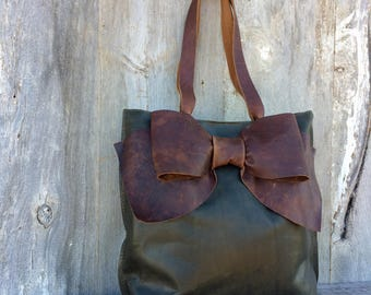 Leather Bow Tote Bag in Dark Forest Green Leather with Distressed Chocolate Brown Leather Bow - Bow Bag - Handmade - Gift - by Stacy Leigh
