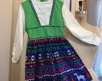 Vintage Child kids little girl 1960s 1970s Dress jumper Youngland