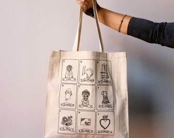 Tote bag  - loteria mexicana - Frida - Frida Kahlo - cara carmina