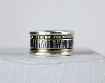 Silver and Gold Stacking Rings, Mixed Metal Stack Rings with Rustic Band, Textured and Smooth Gold-fill