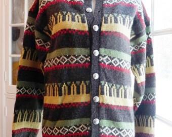 Women's Nordic Sweater - Norwegian Wool Cardigan- Metal Buttons- Gray Green Yellow Red Design- MOTH PROOF- Viking Knit- Norway- Ladies Small