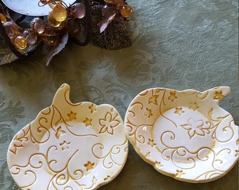 Handmade Ceramic Pumpkin Snack Dishes/Ring Holders/Change Dish/Cupcake Plate/Candle Dish