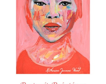Pink Mixed Media Acrylic Portrait Painting Original. Small Watercolor Paper Art. Girl Portrait Art.