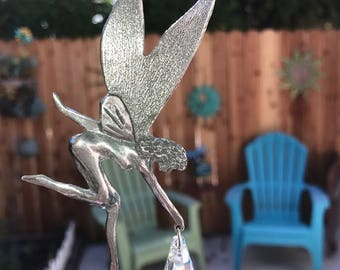 "9 1/2"" Car/ 10"" Home Style Pewter Magical Garden Fairy Suncatcher Made with Swarovski Crystal, Garden fairies, mythical faery or faeries"