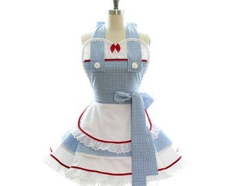 Retro Apron - Kansas Dorothy Womans Aprons - Vintage Apron Style - Pin up Wizard of Oz Rockabilly Cosplay - Mommy + Me Baking Costumes