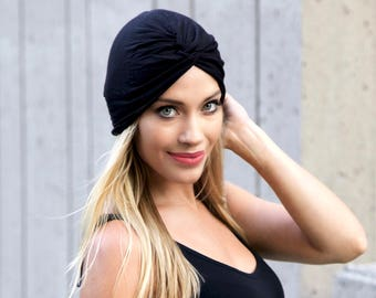 Turban Hat Women Black Women's Stretch Turban 1940s Head Scarf Turban Headwrap Soft Turban Packable Hat Chemo Hat Hair Wrap Chemo Turban