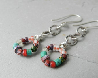 Antique African Trade Bead Mixed Pattern Colorful Circle Drop and Chain Earrings - Mixed Dangle