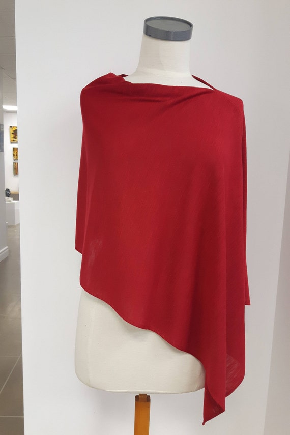 Women clothing, elegant poncho, asymetric, textured knit, red, gray, blue, one size