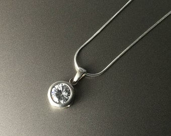 Brilliant Large Round CZ in Gypsy Setting - Sterling Silver Necklace - Cubic Zirconia 925