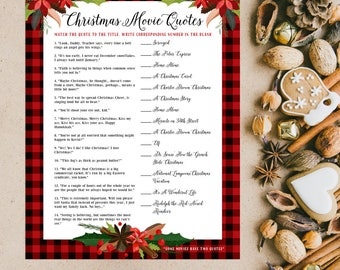 Christmas Movie Quotes Holiday Party Game   Last Minute Christmas Party Ideas   Printable Digital File   DIY Instant Download