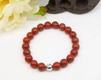 Red Jasper Bracelet - Stretch Bracelet - Stackable Bracelet - Gemstone Beaded Bracelet - Womens Bracelet - Gift - Mens Bracelet