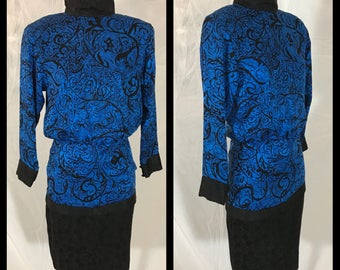 1980s Bold Blue and Black Silk Dress with Stand Up Collar by Flora Kung - Size 4