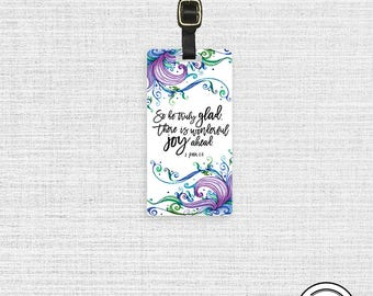 Personalized Luggage Tag Bible Verse Peter 1:6 Joy Ahead - Metal Tag Single Tag