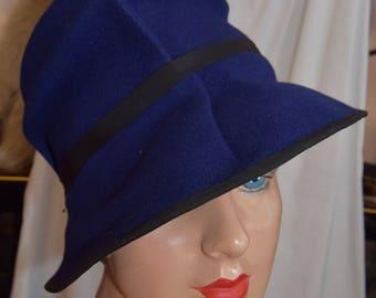 1940's Blue Felt Tilt Hat