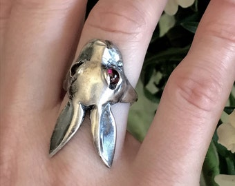 Evil Bunny Rabbit Ring with Cabochon Garnet Eyes in Oxidized Sterling Silver