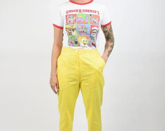 Free Shipping - Y2K Cartoon 90s Novelty Chuck E. Cheese Kids Shirt Rainbow Kawaii Harajuku Ringer Graphic Tee Rainbow Monster Pizza VTG XS/M