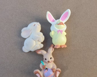 Easter Bunny Vintage Pins, Easter Rabbits Chick, By Hallmark Cards, Collection 3 Pins Brooches