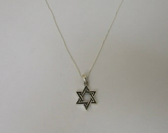 Beautiful Star of David Pendant Silver Necklace,  Oxidized Black Sterling Silver Jewish Star of David Necklace, Heavy Judaica Star Necklace
