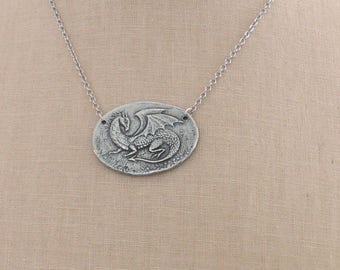 Silver Necklace - Dragon Necklace - Magic Necklace - Roald Dahl - Chloes Vintage Jewelry - Pewter Necklace - handmade jewelry