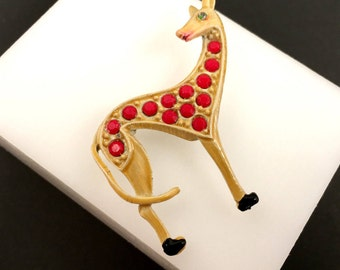 Rhinestone & Enamel Giraffe Brooch, Vintage Jewelry, Enamel Brooch, Vintage Animal Pin, Giraffe Jewelry, Figural Brooch, Animal Lover Gift
