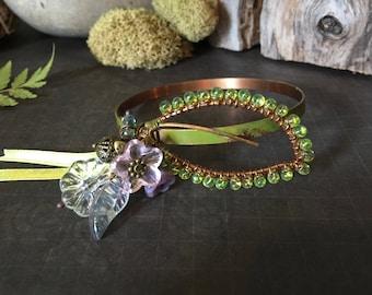 Woodland Whimsical Solid Copper Leaf Bangle