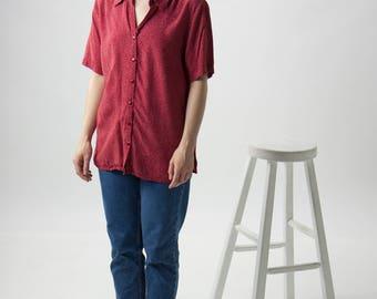 Polkadot Red Blouse / Vintage Oversized Button Up / Spring Fun Shirt
