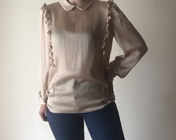 Peter Pan Puff Sleeve   gold long sleeve womens keyhole small S medium M vintage 80s 90s preppy kitsch shirt blouse top office work classy