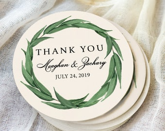 Wedding Coasters, Thank You Favors Personalized Names & Wedding Date Greenery Wreath Design Coaster for Wedding Drinks Bar (Item - COG440)