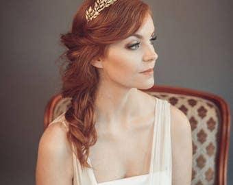 Gold leaf headband - Greek goddess headband - Grecian tiara - Wedding headband - Bohemian head piece