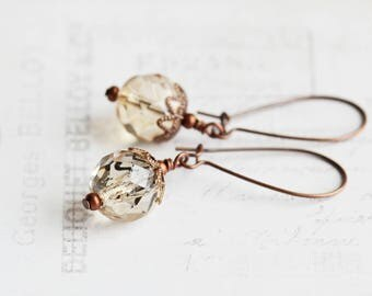 Champagne Earrings, Glass Bead Earrings on Antiqued Copper Plated Hooks, Gold Champagne Dangles, Fashion Jewelry