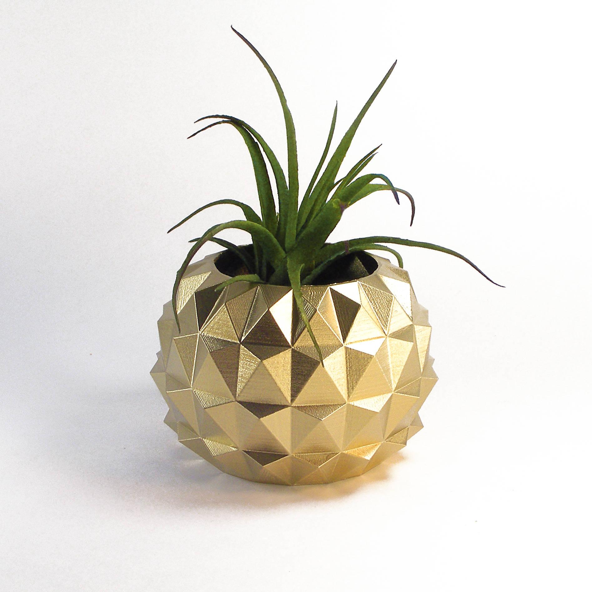 Zen Decorations zen decor 3d printed gold planter pot cactus pot shelf
