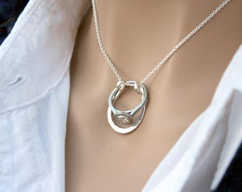 horseshoe ring holder necklace wedding or engagement ring holder pendant - Wedding Ring Necklace