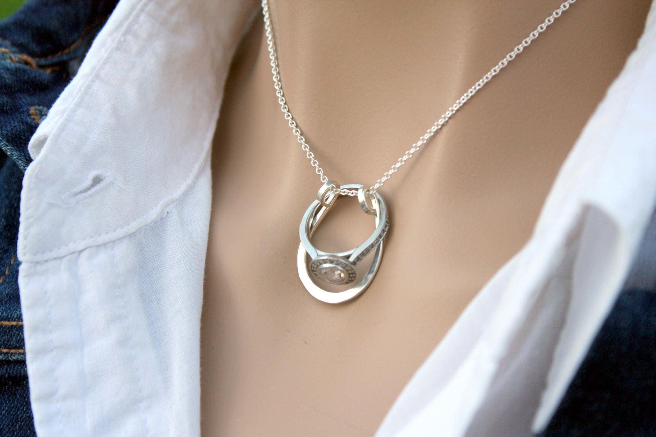 Horseshoe Ring Holder Necklace Wedding or Engagement Ring