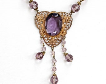 Sale - Art Deco Czech Necklace - 1930s Vintage Simulated Amethyst Purple Glass - Brass Filigree Lavalier Czechoslovakia Costume Jewelry