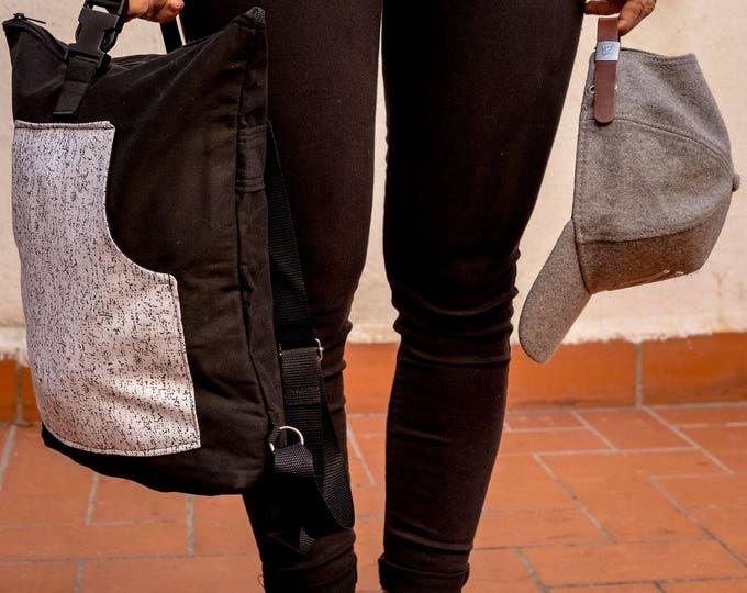 Black and white Backpack, Day Bag , Minimalist Rucksack