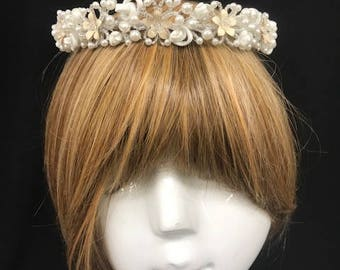 Fun & Delightful Crown Wreath W/ Beads And Pearls Forming Floral Pedals W/ Ivory Enamel With Gold Trim