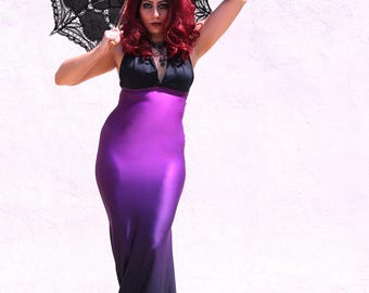 Gothic Dress - Mermaid Purple Dress - Steampunk Gothic Dress - Halloween Dress