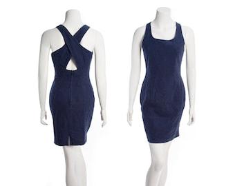 80s / 90s Express minidress -- vintage linen mini dress -- Campagnie Internationale Express -- size small / xs