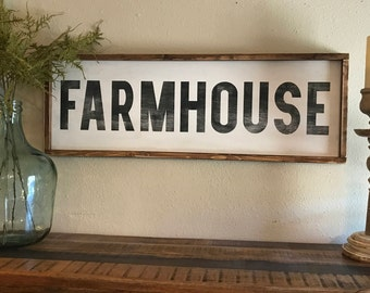 FARMHOUSE, 12x36, Framed Wood Sign