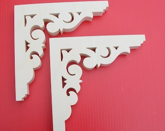 "Two ( 2)  6"" x 6"" x 3/4"" Wood Shelf Brackets / Wood Screen Door Brackets / Screen Door Wood Trim"