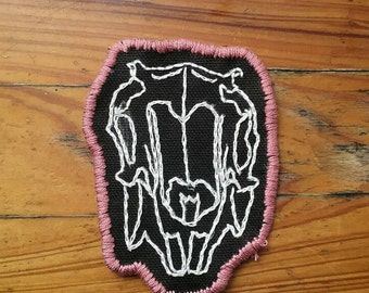 Rabbit Skull Hand-embroidered Iron-on Patch